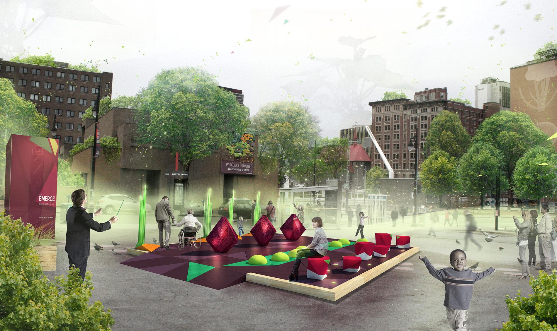 art public, onf concours, quartier des spéctacles, montréal, collectif escargo, émerge, rendre visible l'invisible, potager musical