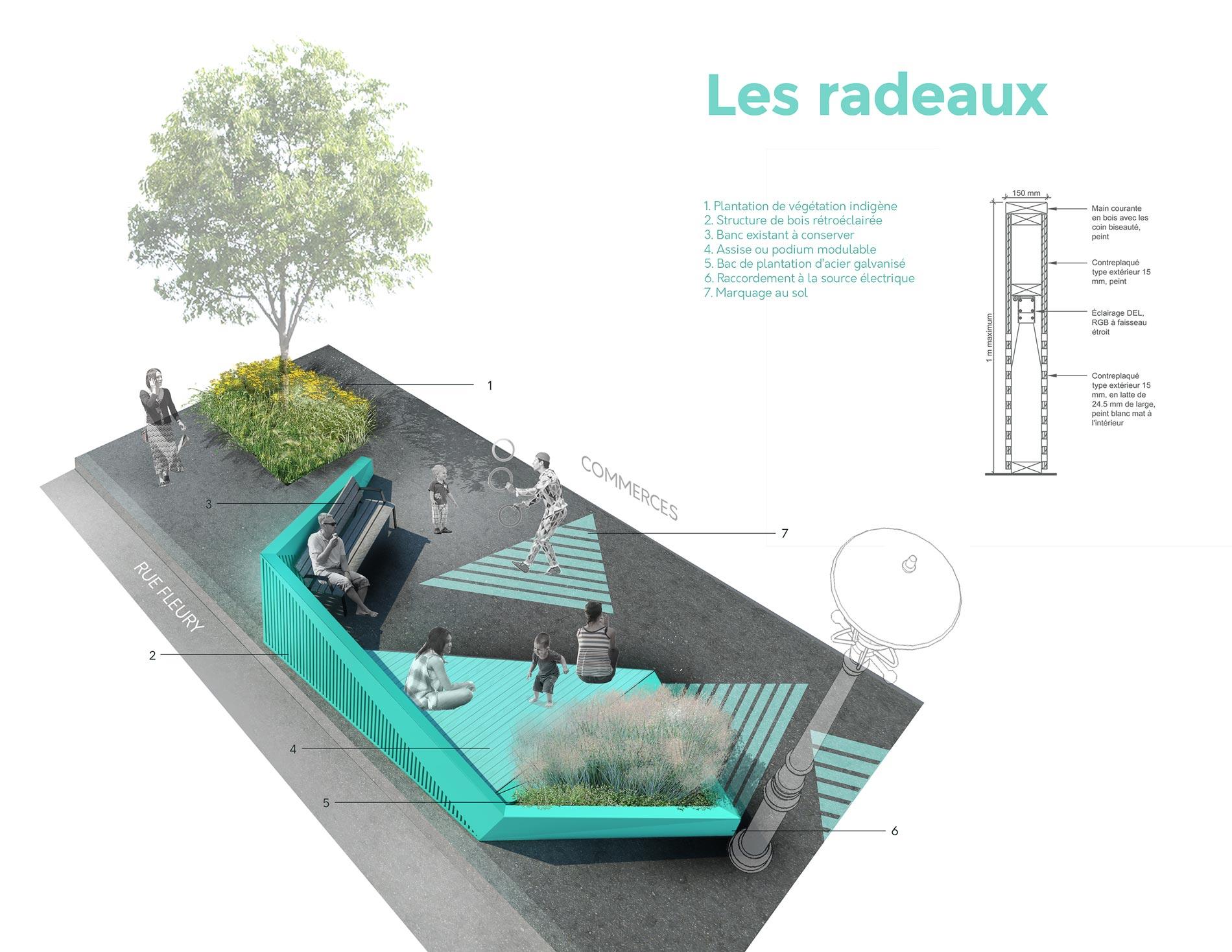 promenade fleury, design montréal, rivages, collectif escargo, zaraté lavignes architecte, art public, radeaux cageux